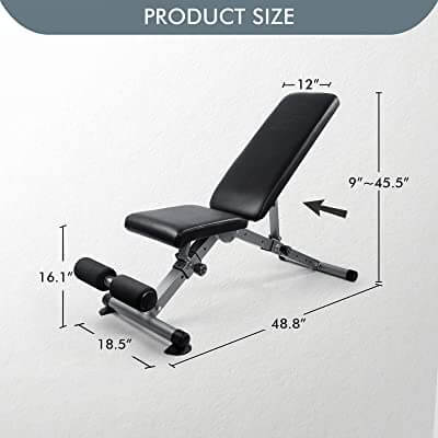 RitFit Adjustable / Foldable Utility Weight Bench for Home Gym, Weightlifting and Strength Training - Bonus Workout Poster with 35 Total Body Exercises (2020 Version)