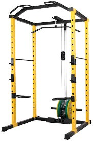 HulkFit 1000-Pound Capacity Multi-Function Adjustable Power Cage with J-Hooks, Dip Bars and Other Optional Attachments